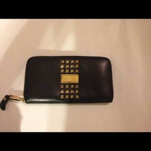 Badgley mischka black studded leather wallet